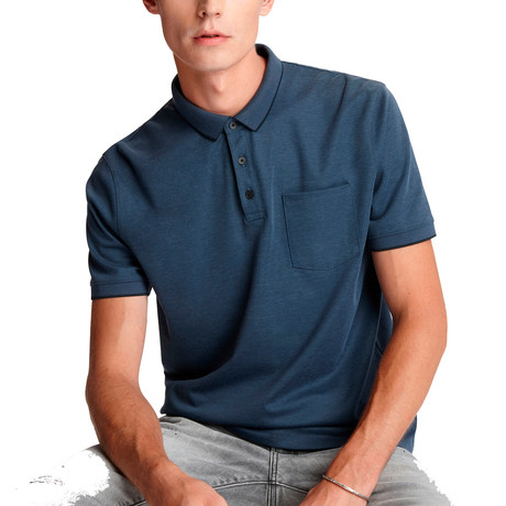 Cambridge Short Sleeve Birdseye Pique Polo + Chest Pocket // Stream Blue (XS)