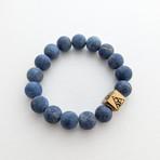 Lapis Lazuli Bead Bracelet // Blue + Gold