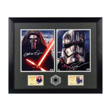 Adam Driver and Gwendoline Christie // Autographed Star Wars The Force Awakens Framed Photo