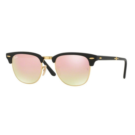 Unisex Folding Clubmaster Sunglasses // Black + Copper Flash