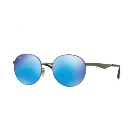 Men's Round Sunglasses // Black + Blue Mirror Flash