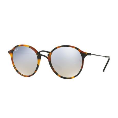 Unisex Round Fleck Sunglasses // Tortoise + Silver Flash