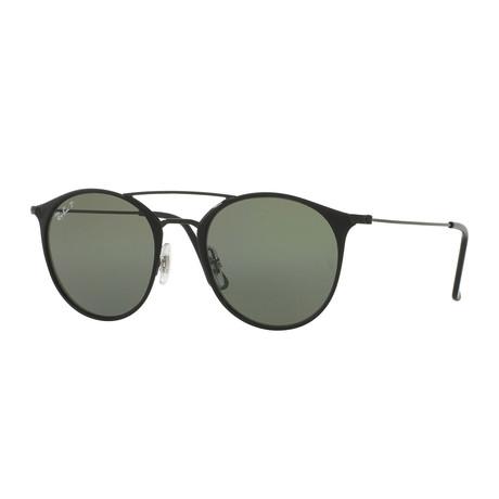 Unisex Double Bridge Sunglasses // Black + Green Classic