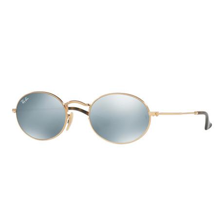 Unisex Round Sunglasses // Gold + Silver Mirror Flash