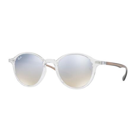 Unisex Round Nylon Sunglasses // Transparent Brown + Silver Gradient Flash