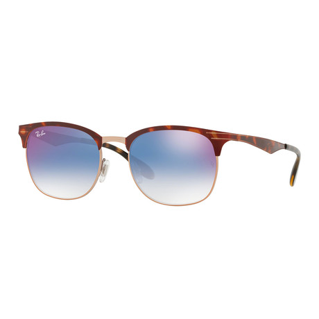 Men's Square Sunglasses // Tortoise + Gold + Blue Gradient Mirror