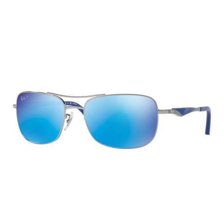 Unisex Polarized Double Bridge Sunglasses // Gunmetal + Blue Flash