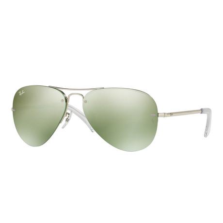Unisex Large Aviator Sunglasses // Silver + Green Flash