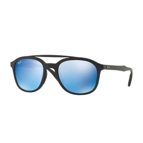 Men's Square Sunglasses // Matte Black + Blue Mirror Flash