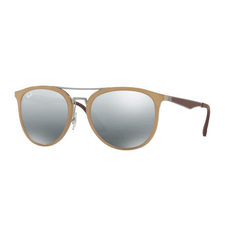 Ray-Ban // Unisex Rectangle Sunglasses // Light Brown + Gray Gradient Mirror