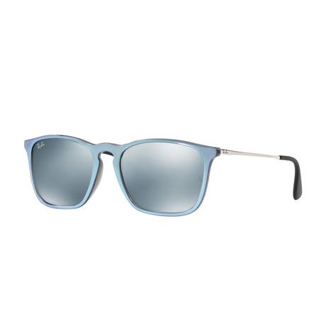 Unisex Chris Square Sunglasses // Gray + Silver + Slver Mirror