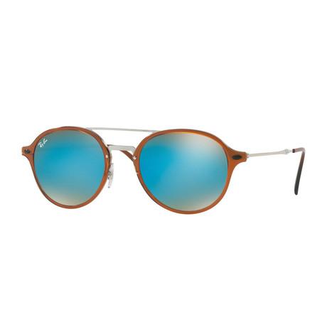 Unisex Round Double Bridge Sunglasses // Brown Silver + Blue Gradient Flash
