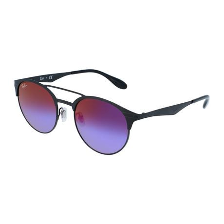 Unisex Double Bridge Sunglasses // Black + Blue Violet Gradient Mirror