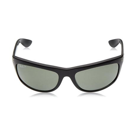 Ray-Ban // Unisex Polarized Balorama Wrap Sunglasses // Black + Green Classic