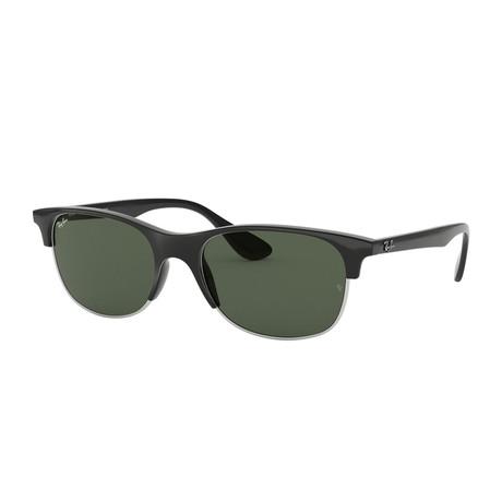 Men's Square Sunglasses // Black + Green Classic