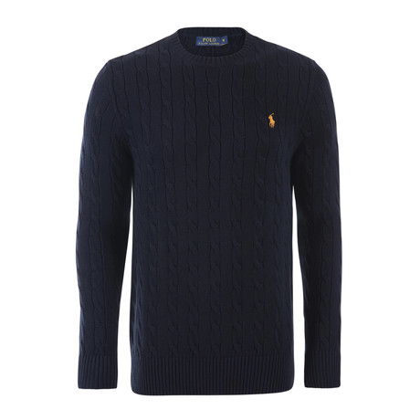 Classic Cable Knit Sweater // Hunter Navy (S)