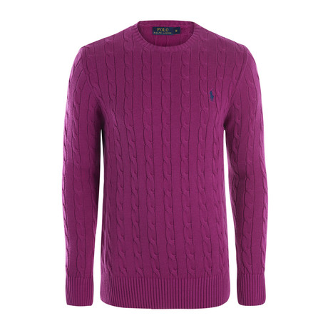 Classic Cable Knit Sweater // Purple (S)