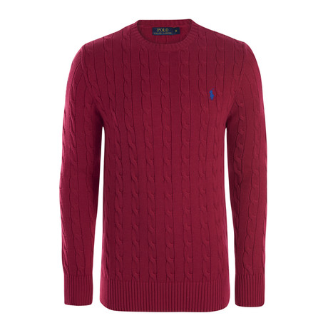 Classic Cable Knit Sweater // Red (S)
