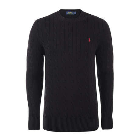 Classic Cable Knit Sweater // Black (S)