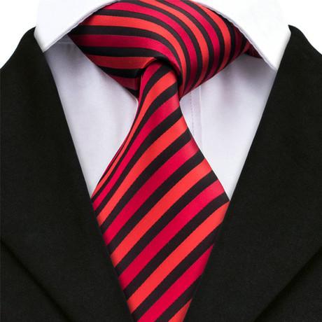 Hugo Stripe Tie // Red + Black