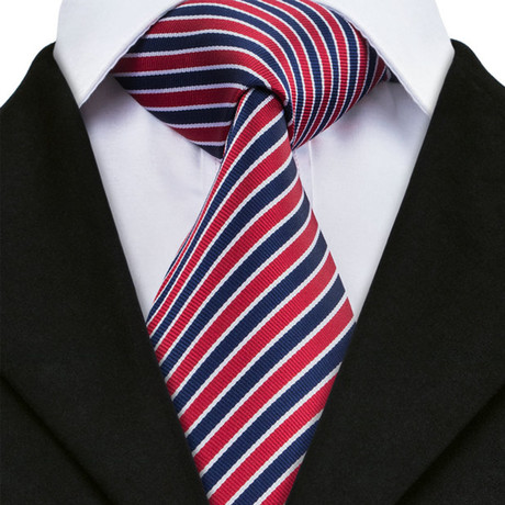 Valery Stripe Tie // Navy + Red