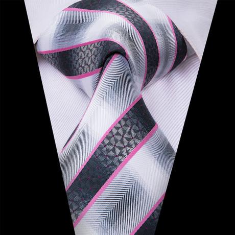Garrin Tie // White + Black + Pink