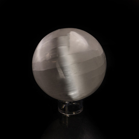 Natural Cat's Eye Selenite Sphere + Acrylic Stand