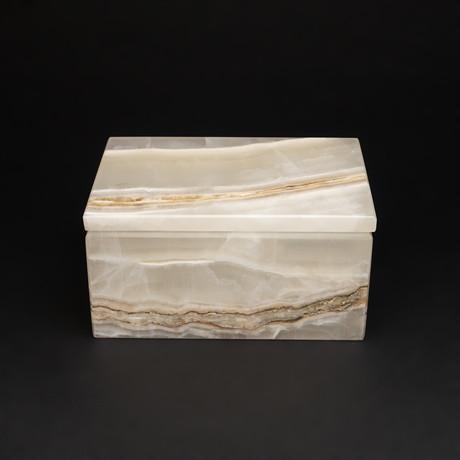 Small // Natural Onyx Box // Rectangle // White