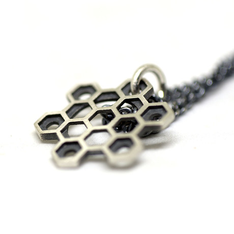 """Hexagons Small Star Necklace // Brushed (18"""")"""