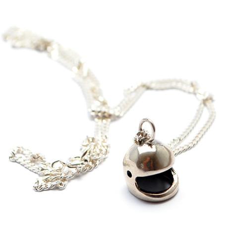 """Silver Helmet Necklace // Polished (18"""")"""
