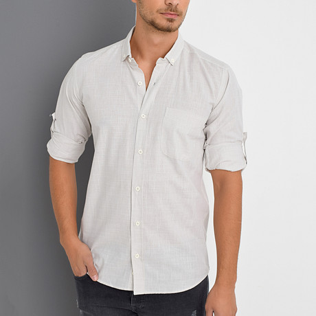Timothy Button-Up Shirt // Beige (Small)