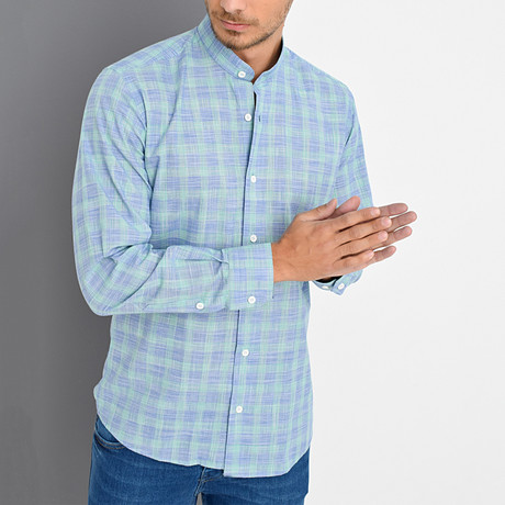 George Button-Up Shirt // Blue + Green (Small)