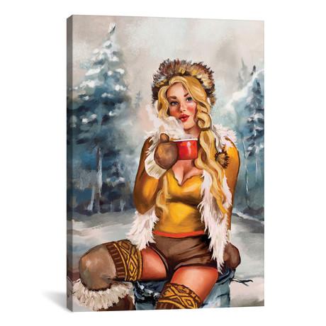 """Apres Ski Gold Cocoa Pinup (12""""W x 18""""H x 0.75""""D)"""