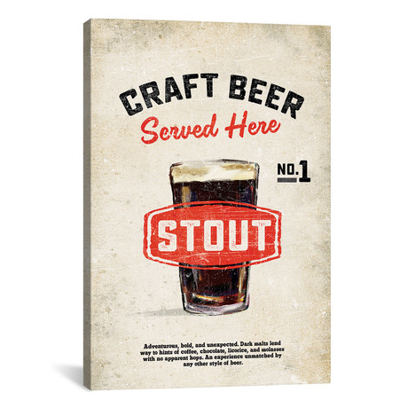 "Craft Beer Stout Vintage Sign (12""W x 18""H x 0.75""D)"