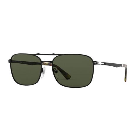Rectangle Navigator Sunglasses // Gloss Black + Green