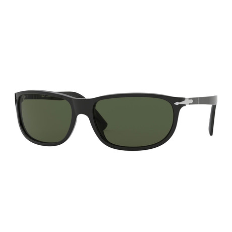 Oval Wrap Sunglasses // Black + Green