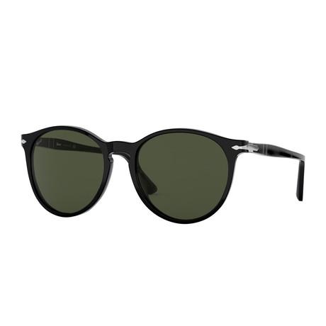 Classic Round Sunglasses // Black + Green (Size 53-18-145)