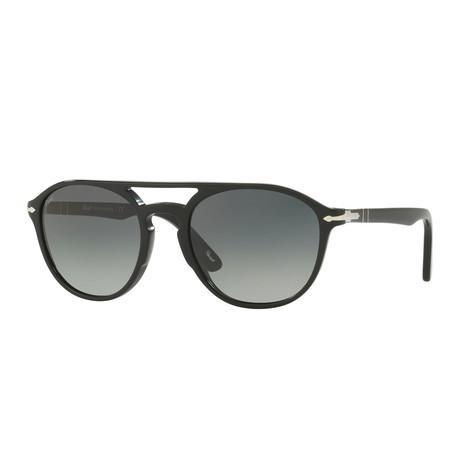 Acetate Aviator Sunglasses // Black + Gray Gradient