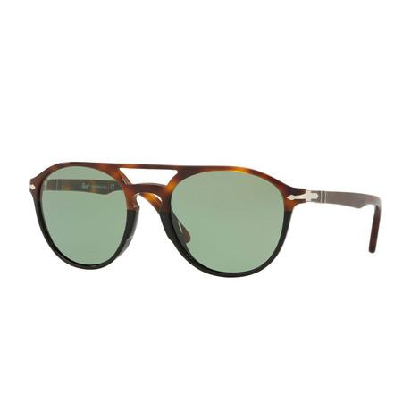 Acetate Aviator Sunglasses // Tortoise Black + Green