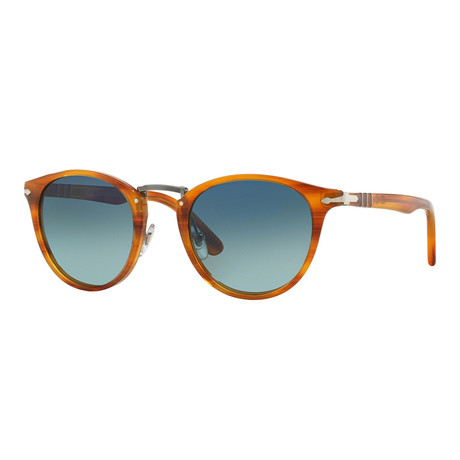 Men's Typewriter Edition Polarized Sunglasses // Striped Brown + Blue Gradient