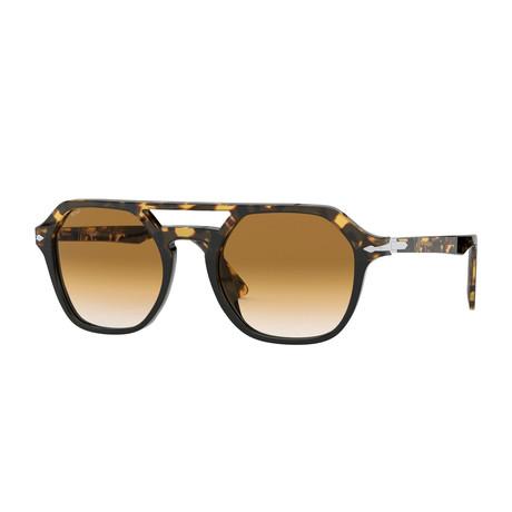 Square Aviator Sunglasses // Tortoise Black + Brown Gradient