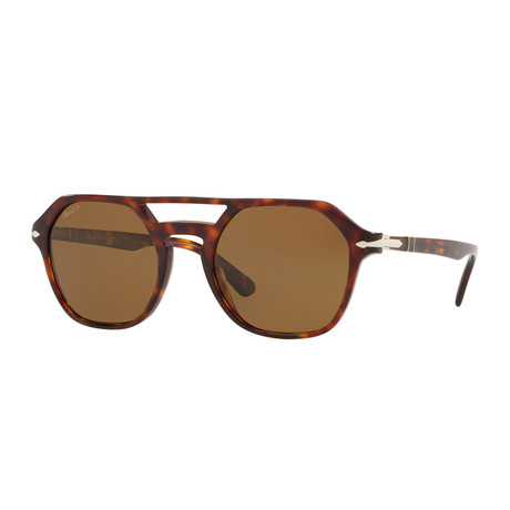Men's Polarized Square Aviator Sunglasses // Havana + Brown