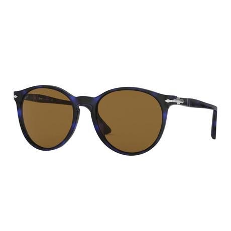 Classic Round Sunglasses // Blue Havana + Brown