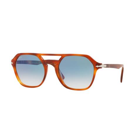 Men's Square Aviator Sunglasses // Terra Di Siena + Blue Gradient