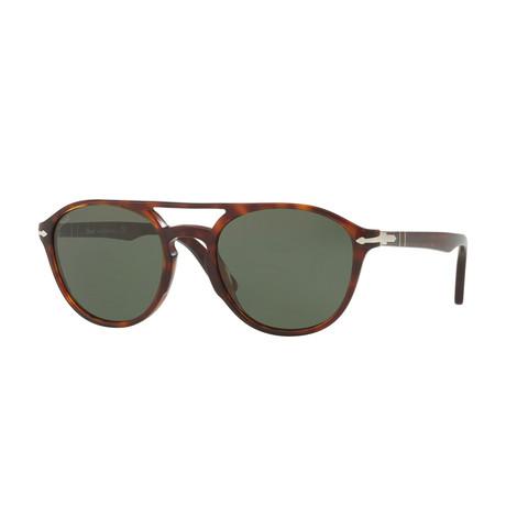 Men's Acetate Aviator Sunglasses // Havana + Green