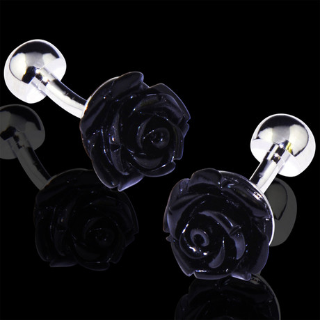 Exclusive Cufflinks + Gift Box // Black Rose