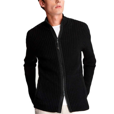 Lincoln Mercerized Full Zip Mock Woven // Black (XS)