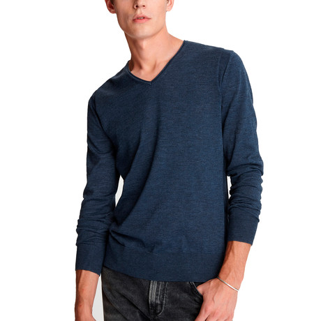 Arlington Long Sleeve Melange V Neck W Roll Neck + Revers // Pacific Blue (XS)