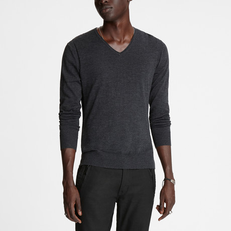 Arlington Long Sleeve Melange V Neck W Roll Neck + Revers // Charcoal Heather (XS)