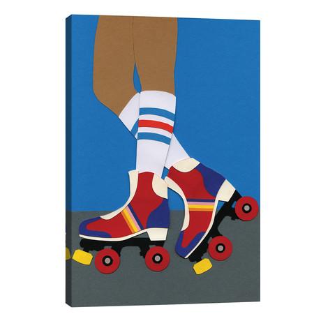 """70s Roller Skate Girl // Rosi Feist (12""""W x 18""""H x 0.75""""D)"""